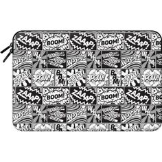 Macbook Sleeve - Modern Comic Book Superhero Pattern B&W Black and... ($60) ❤ liked on Polyvore featuring accessories, tech accessories, macbook sleeve and comic book