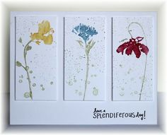 inked the stamps with markers then added some background splotches with pear. Colors are pear, daffodil, marina mist and cherry cobbler. The panels are popped up.