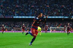 Neymar of FC Barcelona celebrates after scoring his team's third goal during the La Liga match between FC Barcelona and Villarreal CF at Camp Nou on November 8, 2015 in Barcelona, Catalonia.