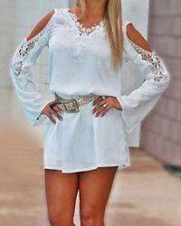 Fashionable V-Neck Lacework Splicing Long Sleeve Chiffon Women's Dress
