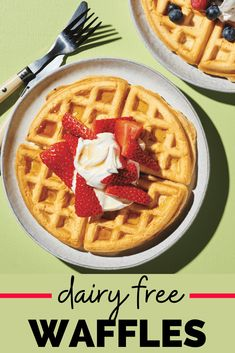 These dairy free waffles are the perfect way to start your morning! Homemade Belgian waffles topped with syrup, or berries and dairy free whipped cream, are such a delicious treat. #waffles #dairyfree Dairy Free Belgian Waffle Recipe, Dairy Free Waffles, Dairy Free Diet, Dairy Free Recipes, Dairy Free Deserts, Dairy Free Breakfasts, Waffle Toppings, Waffle Recipes, Dairy Free Whipped Cream