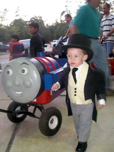 Thomas the Tank Engine and Sir Topham Hatt costume by Paper soup, via Flickr