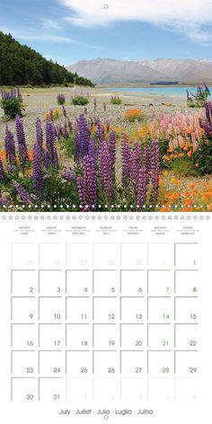 "Reisekalender mit Planer ""New Zealand – Variety of the South Island"", Kalenderblatt Juli: Lake Tekapo"