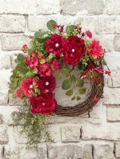 Sparkling Jewel Pink Floral Wreath Spring by AdorabellaWreaths