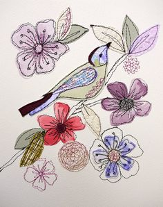 A Peaceful Perch 2- stitched original art- purples and greens- bird/floral