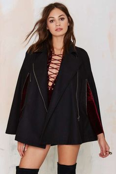 Rayanne Cape Coat - Black | Shop Clothes at Nasty Gal!