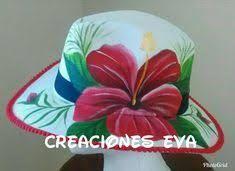 Resultado de imagen para sombreros de mujer pintados Tole Painting, Fabric Painting, Painted Hats, Summer Hats, Derby Hats, Custom Paint, Beret, Caps Hats, Embellishments