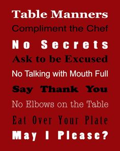 free printable of table manners