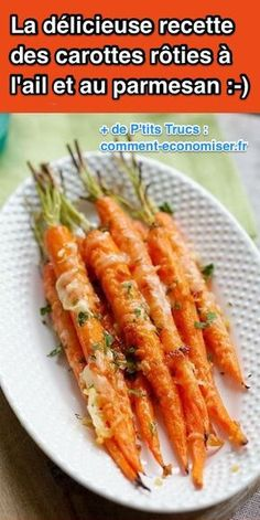 Super Easy and Fast: The Recipe for Roasted Carrots with Garlic and Parmesan. Parmesan Roasted Zucchini, Roasted Zucchini Recipes, Yummy Vegetable Recipes, Roast Zucchini, Vegan Recipes, Good Food, Yummy Food, Roasted Carrots, Food Videos