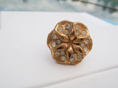 Victorian Rhinestone Ring Button Ring by ScribbleChickenShop, $18.00