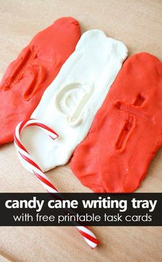 Candy Cane Play Dough Writing Tray with Free Printable Letter Number and Shape Writing Task Cards Christmas Activities For Kids, Preschool Christmas, Preschool At Home, Preschool Themes, Kindergarten Activities, Toddler Preschool, Christmas Themes, Preschool Activities, Toddler Teacher