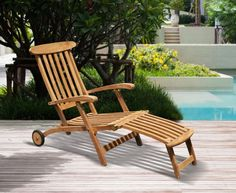 Halo Teak Steamer Chair with Free Cushion, Wheels & Brass Fittings, All Sun Loungers