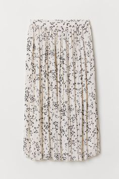 Calf-length, pleated skirt in woven fabric with an elasticized waistband. Lined. Pleated Skirt, Sequin Skirt, Cream Flowers, H&m Gifts, Skirt Pants, White Skirts, Fashion Company, Woven Fabric, Simple Style