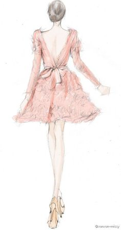 pretty in pink fashion sketch - fashion illustration