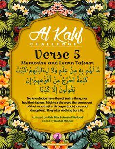 Al Kahf Challenge – Verse 5 (Memorize + Learn Tafsir) – The Ideal Muslimah Islamic Surah, Islamic Teachings, Surah Kahf, Quran Surah, Islamic Love Quotes, Muslim Quotes, Jumuah Mubarak Quotes, Ramadan Mubarak Wallpapers, Al Kahf