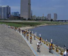 한강과 함께하는 자전거동호회 모습