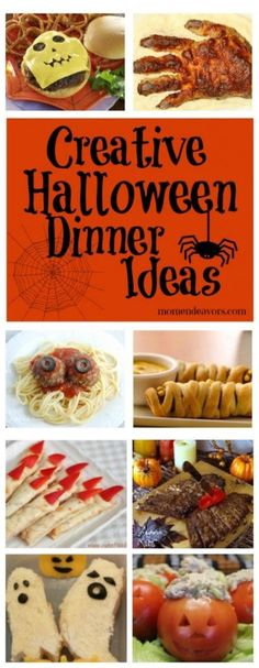 "15  Creative Halloween Dinner Ideas   (pssst..... LOVE the ""scalded"" hand pizza idea!)"