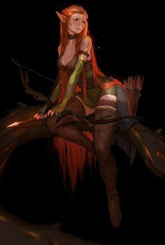 Elf archer, Daria Leonova on ArtStation at https://www.artstation.com/artwork/VZzvg
