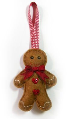 Felt Gingerbread Man Christmas Decoration by bagladee on Etsy