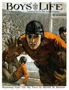 Boy's Life 1925 illustration art by Sidney Riesenberg Football Art, Vintage Football, Boys Life Magazine, Illustration Art Nouveau, Skier, Art Watercolor, Life Cover, Boy Gif, Vintage Boys