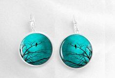 Turquoise Sky Earrings Glass Earrings Resin Jewelry Earrings Picture Earrings (50).  via Etsy.