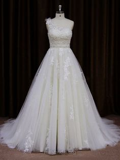 154961e720 Modern A-line One Shoulder Tulle Appliques Lace Ivory Wedding Dress