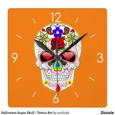 Halloween Sugar Skull - Tattoo Art Square Wall Clock