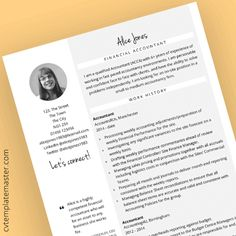 Free Accounts and Finance themed CV template in Microsoft Word