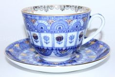 Russian Imperial Lomonosov Porcelain Tea cup and saucer Archways Russia RARE