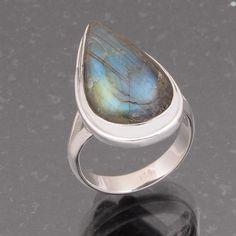 BLUE FIRE LABRADORITE 925 SOLID STERLING SILVER RING 7.87g DJR4922 #Handmade #Ring