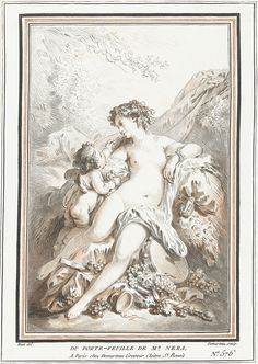 Venus and Cupid with grapes by Gilles Demarteau, 1732-1776. Rijksmuseum, Public Domain
