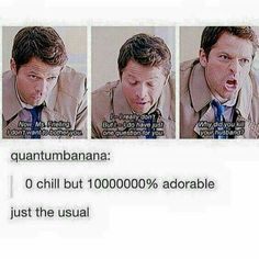 "Supernatural fandom <<< Dean: ""What the hell?"" Cas: ""I was being bad cop."" Dean: ""You were being bad everything. Supernatural Destiel, Castiel, Supernatural Funny Tumblr, Supernatural Wallpaper, Misha Collins, Jared Padalecki, Jensen Ackles, Dc Memes, Funny Memes"