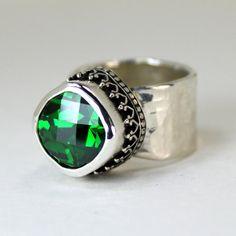 Emerald Green Ring - Sterling Silver Gemstone Ring - Statement Ring - CZ Ring - Cushion Cut Gem - Spring Ring - May Birthstone via Etsy