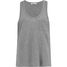 T by Alexander Wang Marled jersey tank ($42) ❤ liked on Polyvore featuring tops, grey, grey tank top, gray tank top, gray top, gray tank and grey top