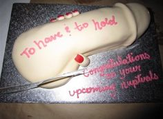 Penis cake!! Omg. Lmao. This is a good one for a bachelorette party!