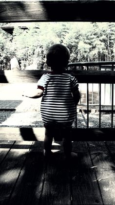 My attempt at black and white photography- the nephew actually stayed still for this one.