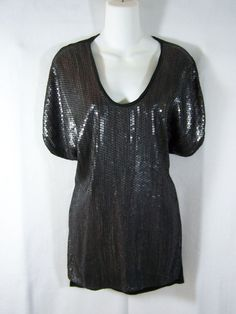 #BCBG Max #Azria 100% #black #silk & dark #shiny #metallic #silver #pewter #sequin #decoration #embellishment #adornment #shirt #blouse #long #tunic length #top with batwing #dolman style sleeves, loose/flowy fit, side slits & deep scoop neckline for #EveningOccasion in #womens #ladies #misses size small/S, excellent used condition http://www.ebay.com/itm/BCBG-MAX-AZRIA-BLACK-SILK-SEQUIN-SHIRT-TOP-BLOUSE-BATWING-DOLMAN-WOMENS-SMALL-S-/141143306628?pt=US_CSA_WC_Shirts_Tops&hash=item20dccbf184