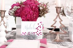 modern holiday tablescape. Pink & gray. Love the place cards