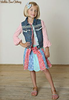 Friends Forever, Fall 2015: Mia Puffer Tee, Adalyn Vest, Brianna Skirt and Jenna Hair Bow