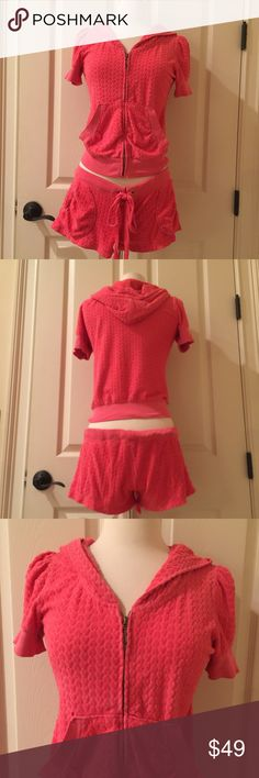 Juicy Couture size S short sleeved pink tracksuit Juicy Couture pink short sleeved tracksuit and matching shorts. In great condition. Juicy Couture Other