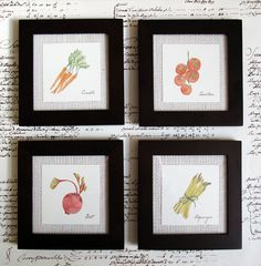 Framed Watercolor Prints - Vegetables. $40.00, via Etsy.