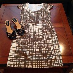 Trina Turk Cross-Hatch Brown Dress Nwot