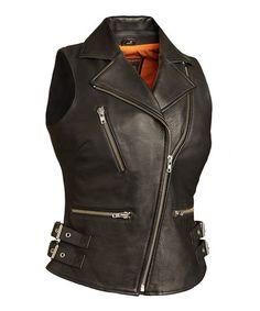 Look at this #zulilyfind! Black Buckle Leather Moto Vest - Plus #zulilyfinds