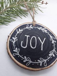 Painted Christmas Ornaments, Silver Christmas, Wood Ornaments, Christmas Deco, Rustic Christmas, Holiday Ornaments, Handmade Christmas, Christmas Crafts, Xmas