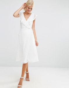 Bridal shower/Brunch/Honeymoon? Image 4 of ASOS Lace Midi Dress With Ruffle Wrap
