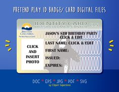 Pretend Play British Columbia ID Badge/ Card SVG JPG PDf EPs DoC Instant Download Printable Digital Template Files by clipartsuperstore on Etsy Edit Text, A4 Paper, School Parties, Party Items, Id Badge, Pretend Play, First Names, British Columbia, Card Sizes