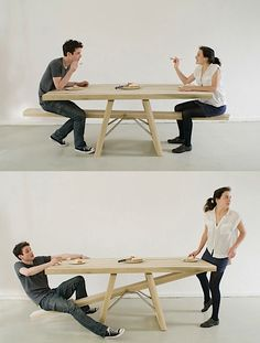 A table that forces people to eat together. But more importantly to both be done at the same time.