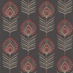 Sula by Jane Churchill - Black / Red - Wallpaper : Wallpaper Direct Textile Pattern Design, Textile Patterns, Textile Prints, Pattern Art, Print Patterns, Red Wallpaper, Print Wallpaper, Pattern Wallpaper, Wallpaper Online