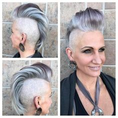 Silver and Grey Faux Hawk Pixie Cut with Pompadour and Shaved Sides Grey Hair Modern, Short Grey Hair, Short Hair Cuts, Damp Hair Styles, Curly Hair Styles, Female Mohawk, Female Faux Hawk, Chica Punk, Mens Medium Length Hairstyles