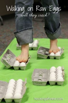 Walking on Raw Eggs Science...will they crack?  Amaze your kids with this simple egg experiment